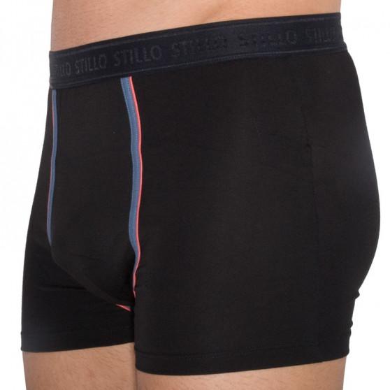 Pánské boxerky Stillo černé s šedým pruhem (STP-016)