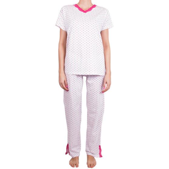 Dámské pyžamo Molvy bílé s růžovými puntíky