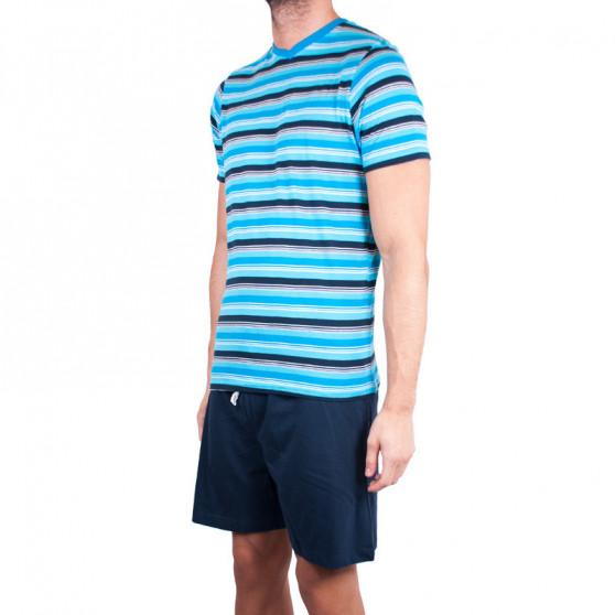Pánské krátké pyžamo Molvy modré s pruhy (KT-073)