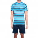 Pánske krátke pyžamo Molvy modré s pruhy (KT-073)