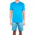 Pánske krátke pyžamo Molvy modré s kockovanými nohavicami