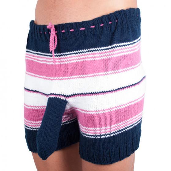 Ručně pletené trenky Infantia růžovo modro bílé pruhy