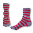 Ponožky Styx crazy červeno sivé prúžky (H324)