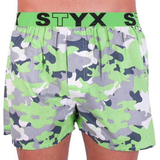 Pánské trenky Styx art sportovní guma zelený maskáč (B559)