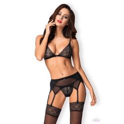 Dámský set Obsessive Shibu bra, garter belt, thong