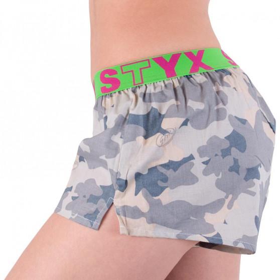 Dámské trenky Styx art sportovní guma béžový maskáč (T557)