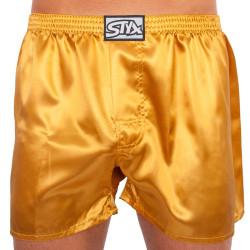Pánské trenky Styx klasická guma saténové zlaté (C685)
