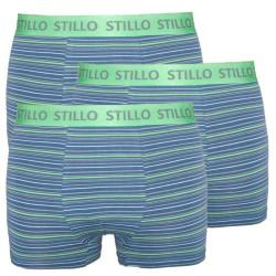 3PACK pánské boxerky Stillo šedé se zelenými proužky (STP-0101010)