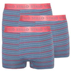 3PACK pánské boxerky Stillo šedé s červenými proužky (STP-0101010)