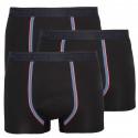 3PACK pánske boxerky Stillo čierne s sivým pruhom (STP-0161616)