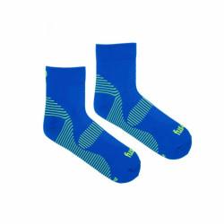 Veselé sportovní kompresní ponožky Fusakle kotník modrý (--0766)